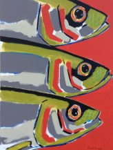 60x82cm - Sardines vertes