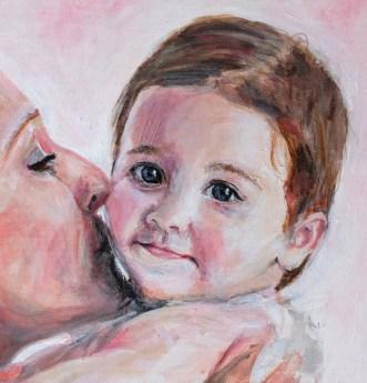 2016 Juliette met moeder 30 x 40 cm