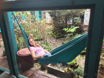 Relaxing at the hostel