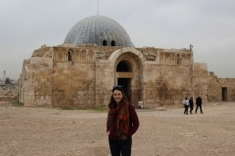 Posing with the Ummayyad Palace in the background