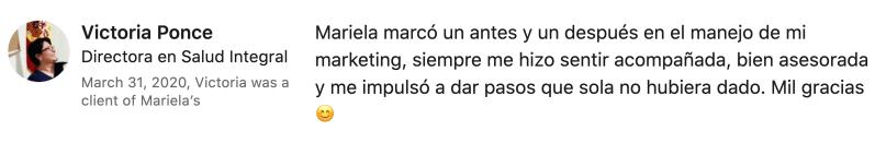 victoria ponce coach. mariela quintero. testimoniales.