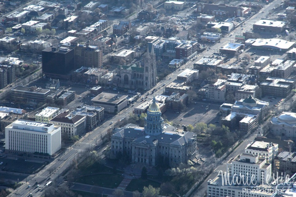 aerial photography colorado state capitol