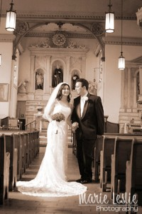 bride and groom in wedding church