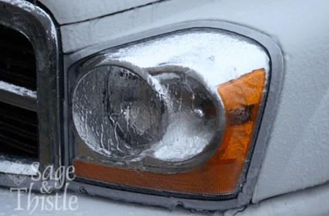 car headlight with ice