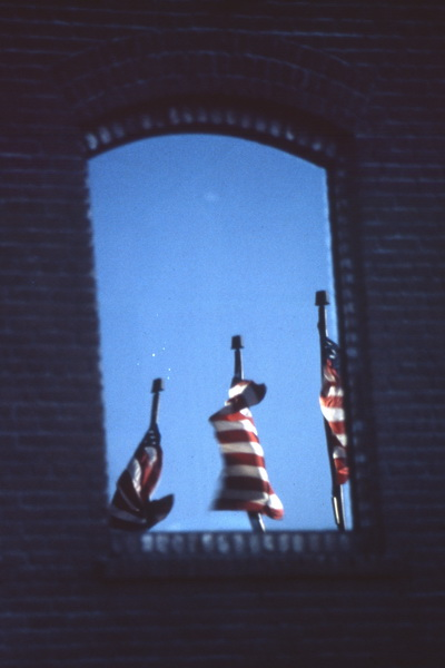 flags in window