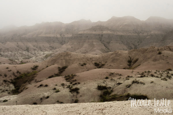 badlands in fog