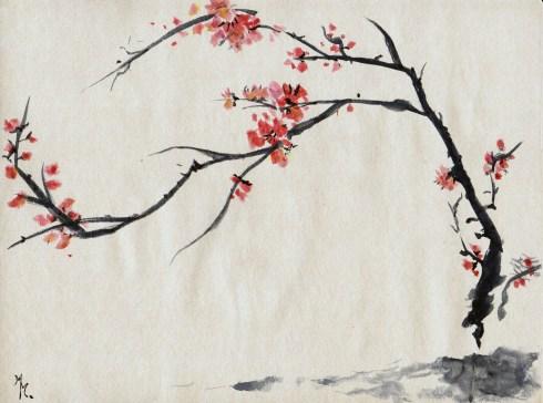 Fleurs de cerisiers peint à l'encre chinoise. © 2016 Marielle Marenati - Tous droits réservés.