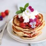 Aardbeien-yoghurt pancakes