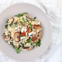 Risotto met spinazie, champignons en Feta