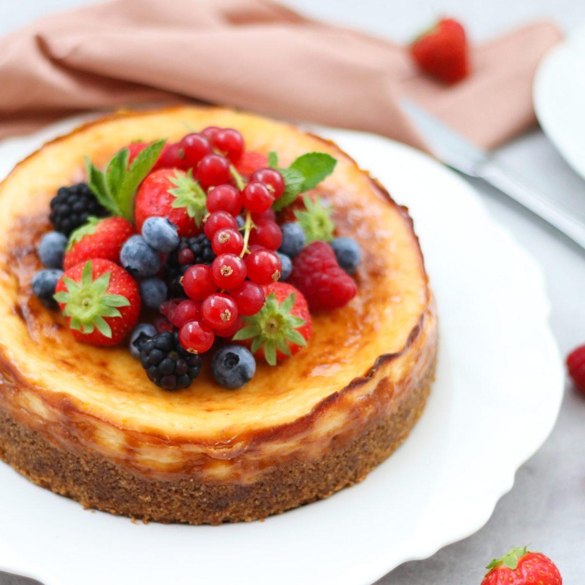 New York cheesecake met zacht fruit