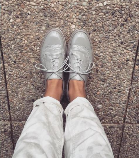 Patent shoes + Chinos; Instagram: _creative__fashion