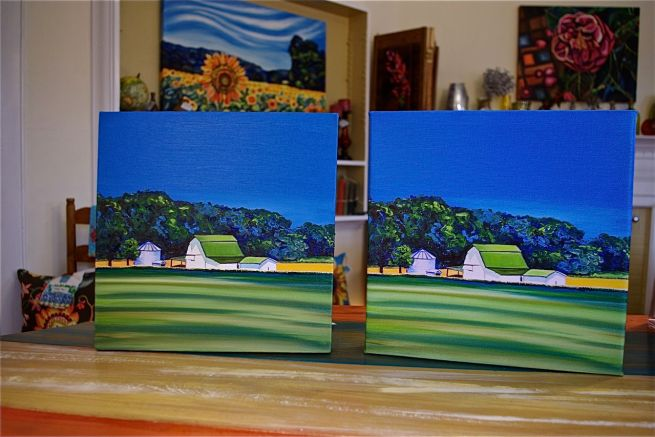 BARN #5 (original oil painting) and BARN #5 (giclee print)