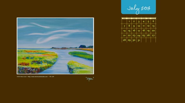 OPEN • 18 inch x 24 inch oil painting • ©2013 Marie Scott [click on the image to download and use as your computer desktop calendar during July.]