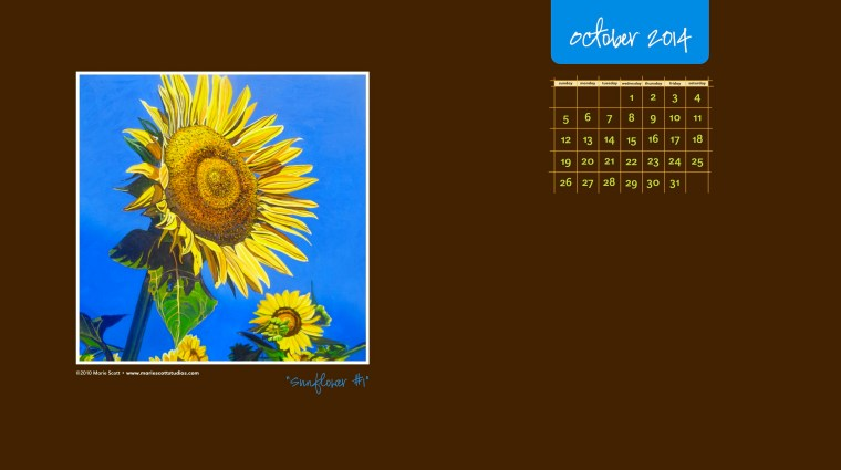 SUNFLOWER #1 • ©2010 Marie Scott • Use this free desktop calendar to brighten up your computer all month long!