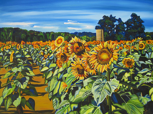SUNFLOWER PATH • ©2011 Marie Scott Studios. Inspired by the Beechwood Farms sunflower field, located most years on Hwy 414.