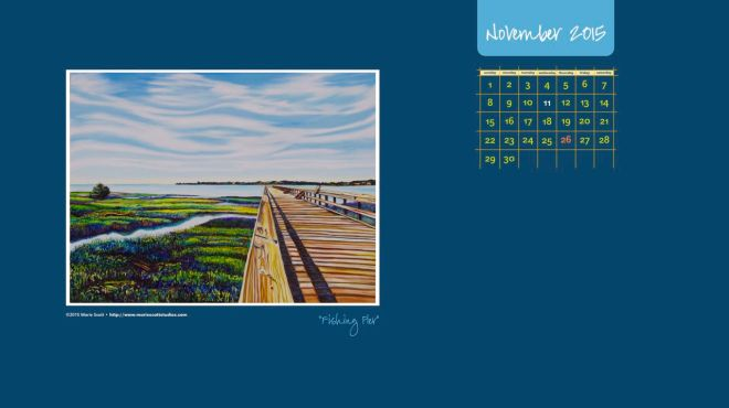 FISHING PIER • 30 inch x 40 inch Oil painting • ©2015 Marie Scott Studios [enjoy this free desktop calendar for the month of November. click on the image to download.]