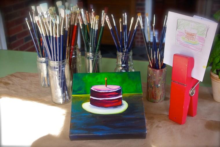 Peace on Earth cake in studio