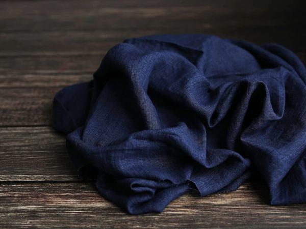 Leinen gewaschen Uni 190 g/m2 | Jeans melange