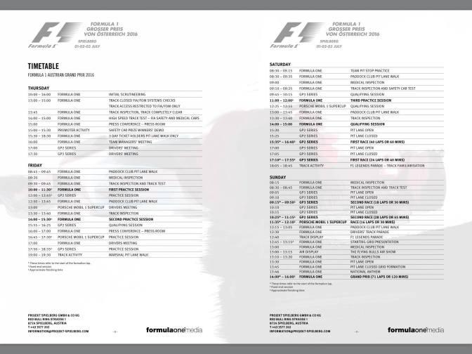 Zeitplan des Grand-Prix-Wochenendes im Aichfeld