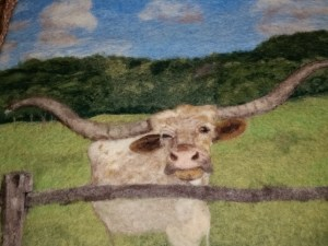 Tutorial Felting a Picture Landscape & Longhorn Progress Pics by Marie Spaulding, Founder of Living Felt Felting Supplies http://feltingsupplies.livingfelt.com
