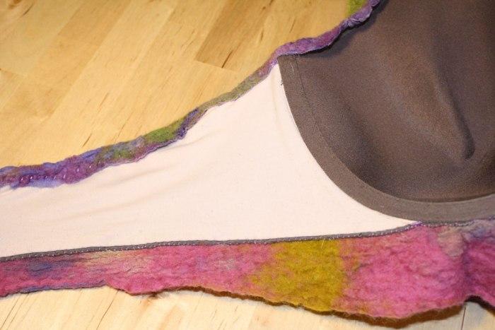 nuno felt art bra, work in process by Marie Spaulidng