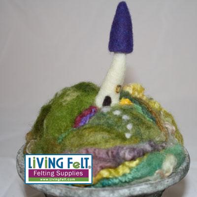 felted mini fairy house