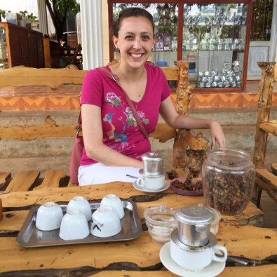 Enjoying a cup of Kopi Luwak Coffee iin Dalat, Vietnam