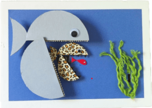 A pale blue fish robot eating a spotted fish robot eating a tiny red fish