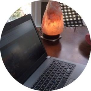 Laptop and salt lamp
