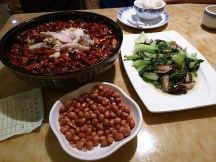 A delicious meal that we were VERY overcharged for! All was well until we got our bill and saw a 50rmb fee ($10CDN) for the tea we asked for. Asking for tea in China is like asking for a glass of water in Canada...it's complimentary! But we are white so.....