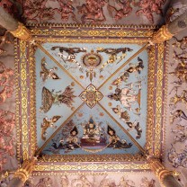 The ceiling from the bottom of the tower