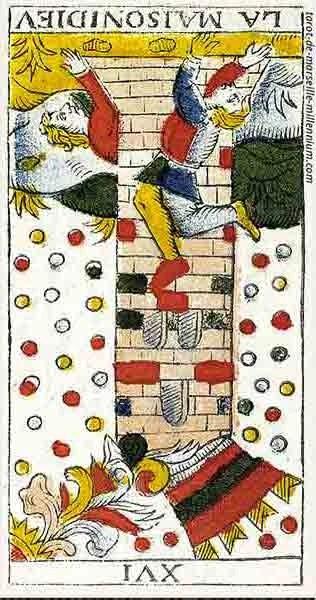 Carta de Tarot de Marsella XVI La Torre invertida en marifranstarot.com