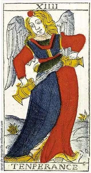 Carta de Tarot de Marsella XIIII La Templanza en marifranstarot.com