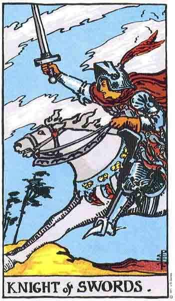 Carta de Tarot de Rider - Waite Caballero de Espadas en marifranstarot.com