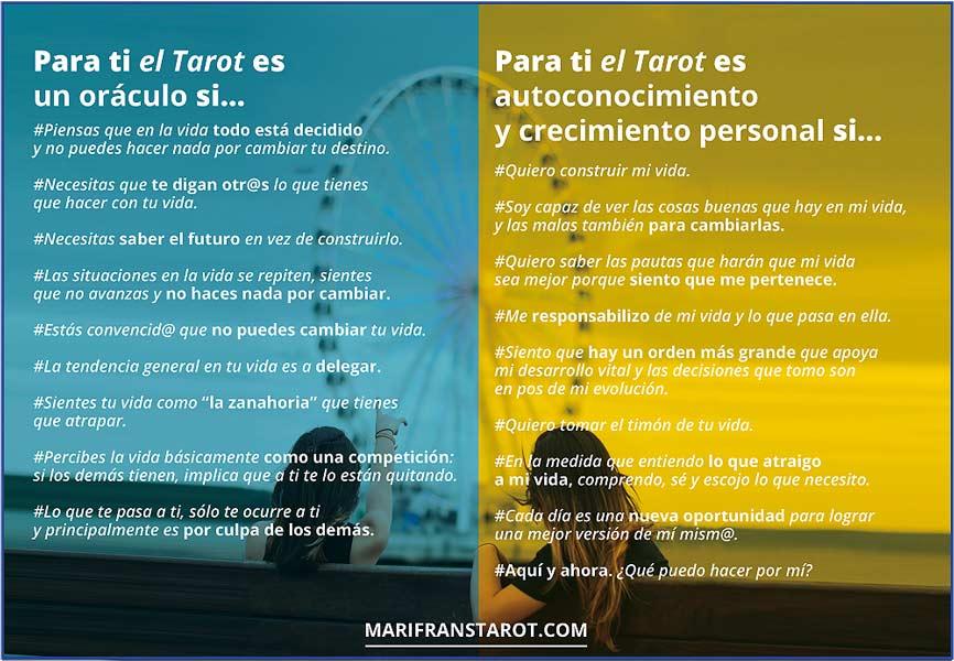 Test ¿El Tarot como oráculo o como autoconocimiento y crecimiento personal? en marifranstarot