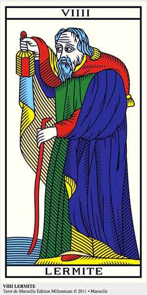 ©Wilfried Houdouin tarot-de-marseille-millennium.com, VIIII El Ermitaño en marifranstarot.com
