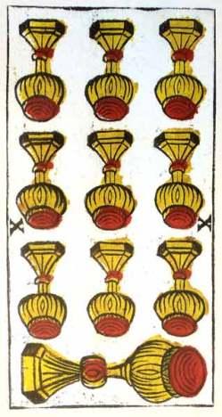 Carta de Tarot de Marsella Pierre Madenié Diez de Copas (invertido) en marifranstarot.com