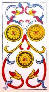 Carta de Tarot de Marsella Pierre Madenié Tres de Oros (invertido) en marifranstarot.com