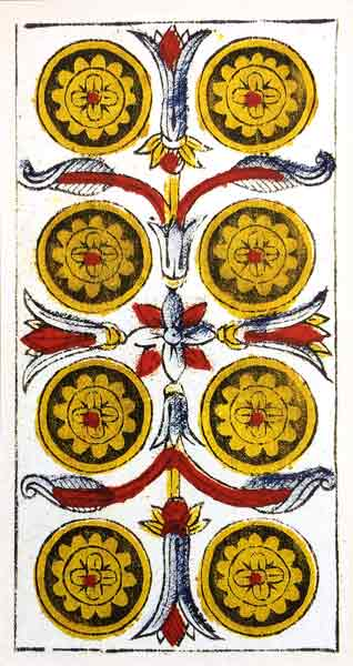 Carta de Tarot de Marsella Pierre Madenié Ocho De Oros en marifranstarot.com