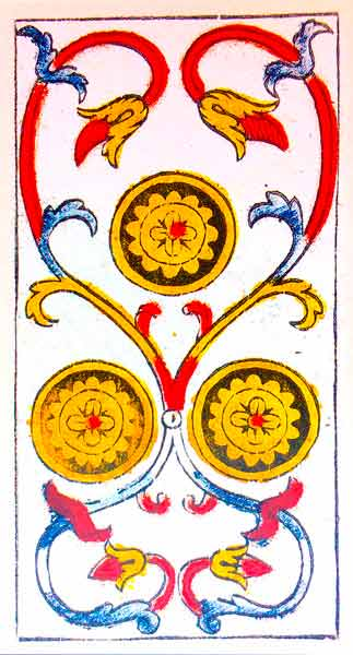 Carta de Tarot de Marsella Pierre Madenié Tres De Oros en marifranstarot.com