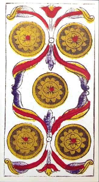 Cinco de Oros Tarot Marsella Madenié en Marifranstarot Tarot evolutivo