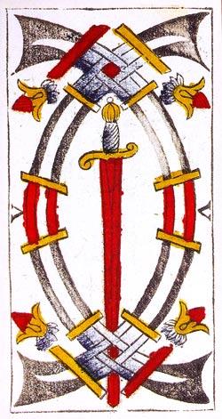 Cinco de Espadas (invertido) tarot de marsella tarot evolutivo tarot terapéutico tarot de madenié