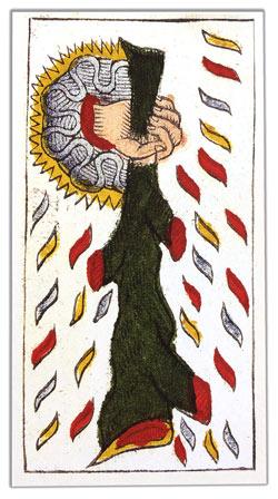 Carta de Tarot de Marsella Pierre Madenié As de Bastos invertido tarot evolutivo tarot terapéutico