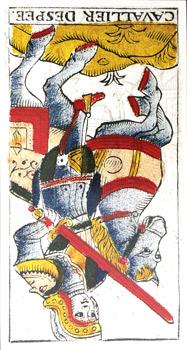 Caballero de Espadas (invertido) tarot de Madenié tarot de marsella tarot terapéutico tarot evolutivo
