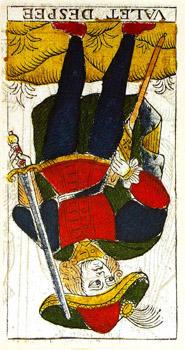 Carta de Tarot de Marsella Pierre Madenié Sota de Espadas (invertida) en marifranstarot.com Tarot evolutivo Tarot terapéutico