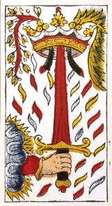 Carta de Tarot de Marsella Pierre Madenié As de Espadas en marifranstarot.com Tarot evolutivo Tarot terapéutico