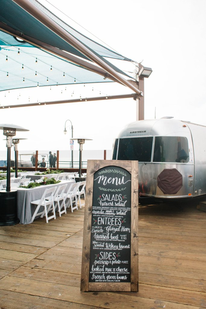 Marigold Events LA | Santa Monica Pier Holiday Party, Airstream, Hand Lettering, Chalk Art