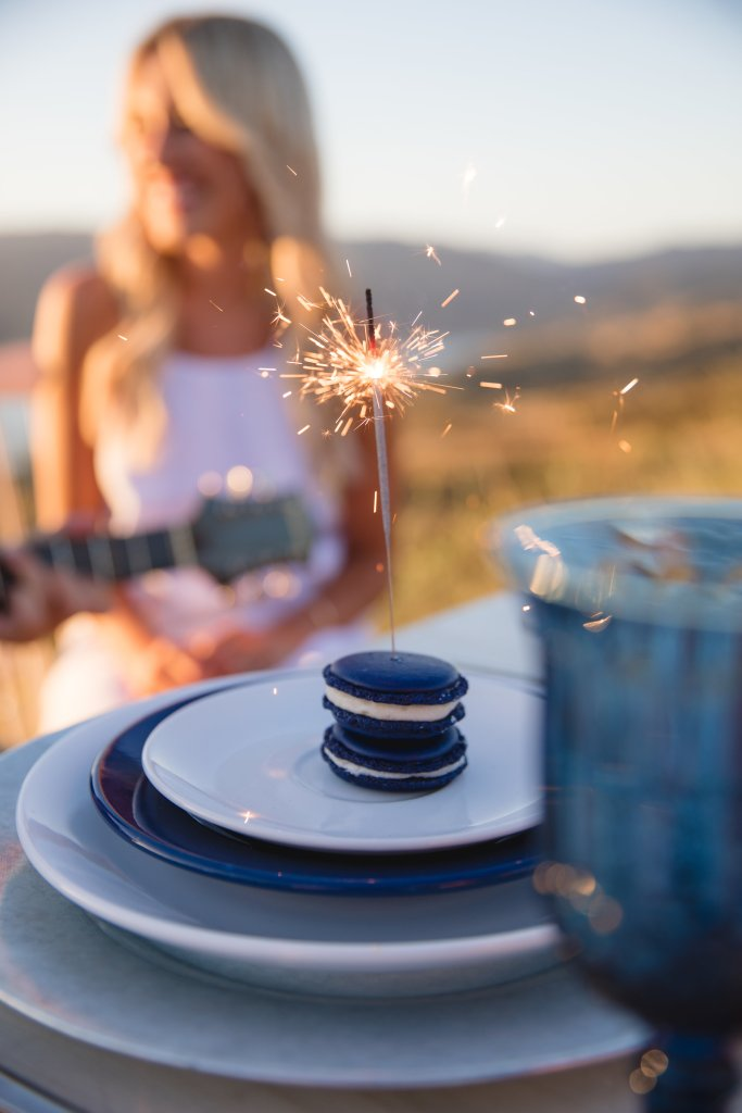 Marigold Events LA | Americana Sunset Lakeview Styled Engagement Shoot, America, USA, Patriotic, Liberty, Red White Blue, naked cake, berries, macarons, sparklers, flag, vintage, succulents, Carly Jean LA, engagement, love