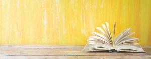 opened book on orange grungy background,