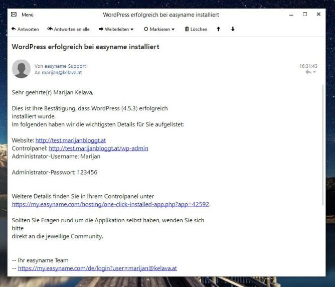 Wordpress wurder erfolgreich installiert